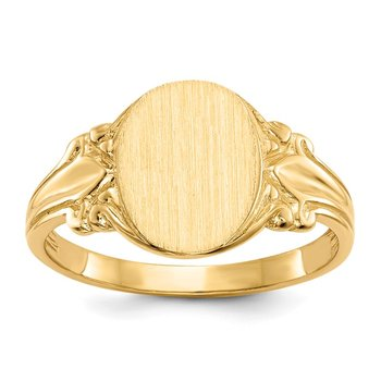 14k 10.0x8.0mm Open Back Signet Ring
