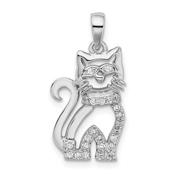 Sterling Silver Rhodium-plated CZ Cat Pendant