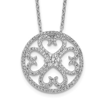 14k White Gold Diamond Vintage Hearts Pendant Necklace