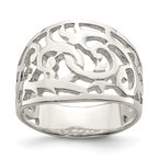 Quality Gold Sterling Silver Swirl Ring