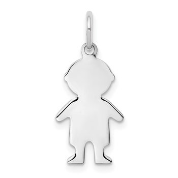 Sterling Silver Rhod-plated Eng. Boy Polished Front/Satin Back Disc Charm