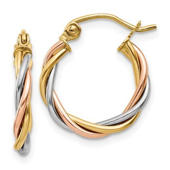 14k Tri-color Polished 2.5mm Twisted Hoop Earrings