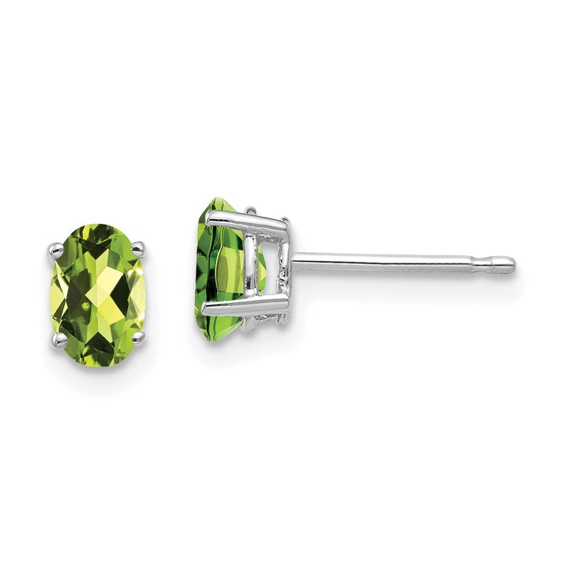 Quality Gold 14k White Gold 6x4mm Oval Peridot Earrings