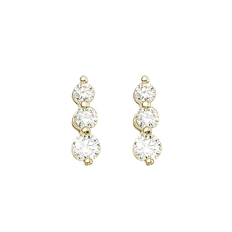 14k Yellow Gold 1 ct 3 Stone Diamond Earring