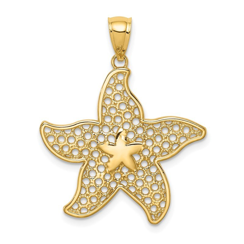 Quality Gold 14K Polished Starfish Pendant
