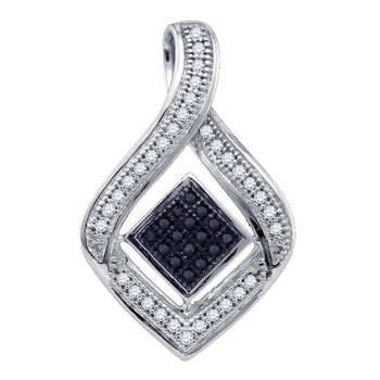 10kt White Gold Womens Round Black Color Enhanced Diamond Diagonal Square Teardrop Frame Pendant 1/6 Cttw