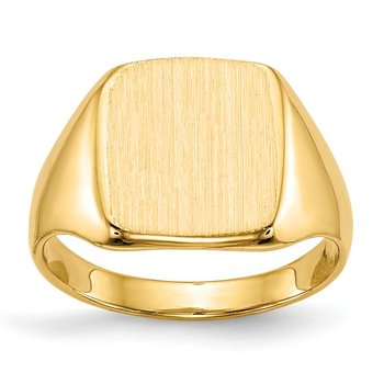 14k 10.0x10.0mm Closed Back Signet Ring
