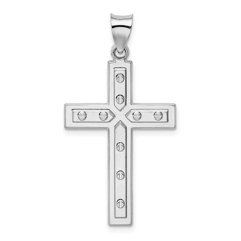 Quality Gold Sterling Silver Rhodium-plated Satin & Polished Latin Cross Pendant