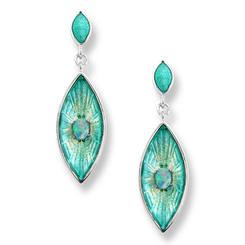 Sterling Silver Marquis Stud Earrings-Blue.  Opal.