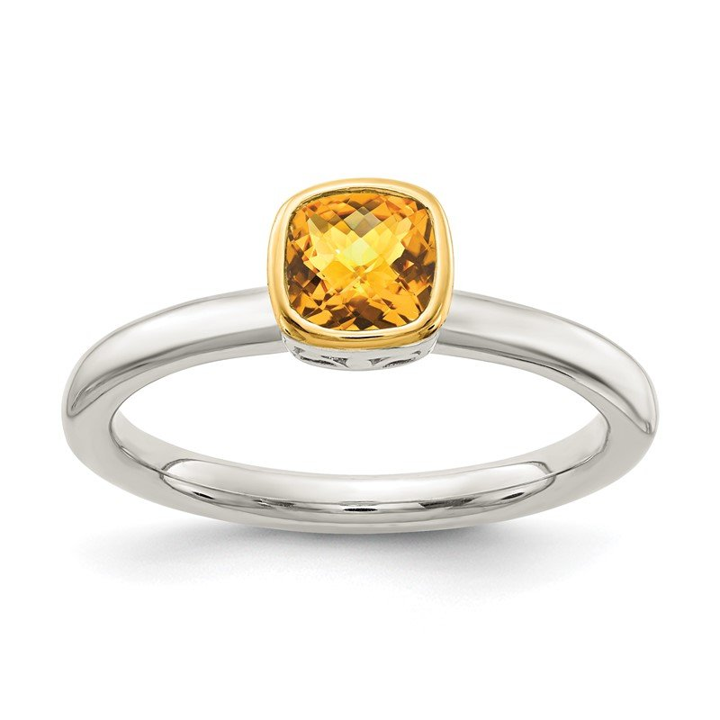 Quality Gold Sterling Silver w/ 14K Accent Citrine Ring