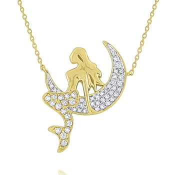 Diamond Mermaid Necklace Set in 14 Kt. Gold
