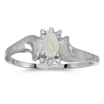 14k White Gold Oval Opal And Diamond Satin Finish Ring