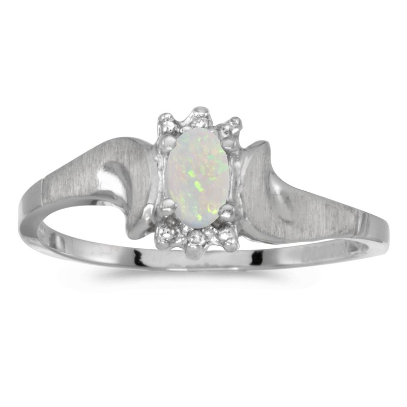 Color Merchants 14k White Gold Oval Opal And Diamond Satin Finish Ring