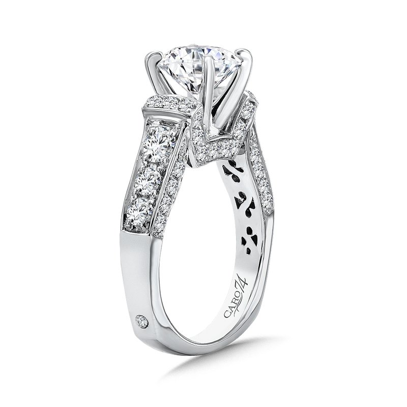 Caro74 Grand Opulance Collection Engagement Ring With Diamond Side Stones in 14K White Gold with Platinum Head (2ct. tw.)