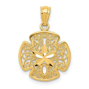14K Diamond-cut Polished Filigree Sand Dollar Pendant