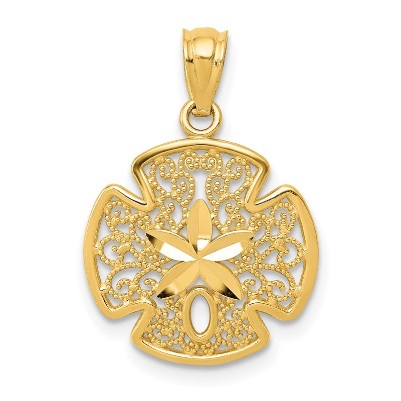 Quality Gold 14K Diamond-cut Polished Filigree Sand Dollar Pendant