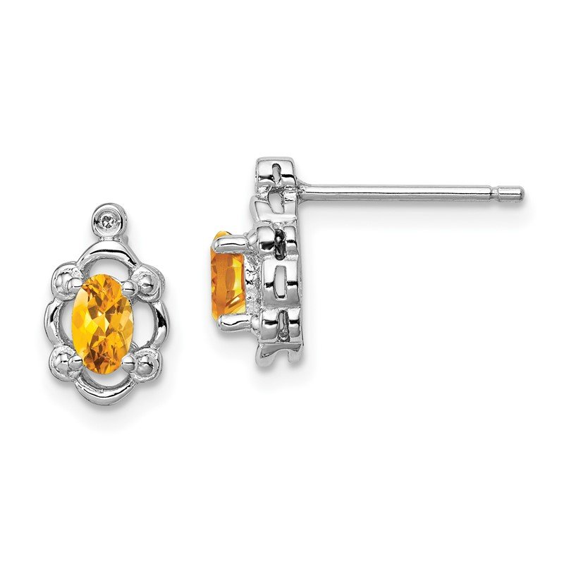 Quality Gold Sterling Silver Rhodium-plated Citrine & Diam. Earrings