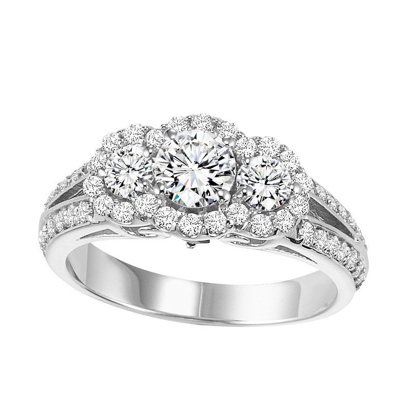 Bridal Bells 14K Diamond Engagement Ring 1 ctw with 1/2 ct Center