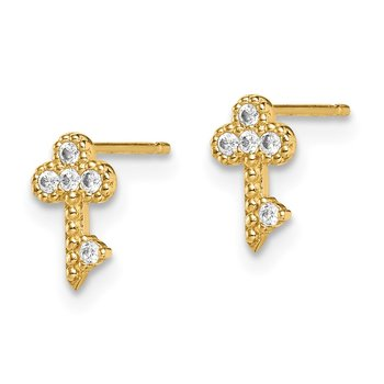 14k Madi K Key CZ Post Earrings