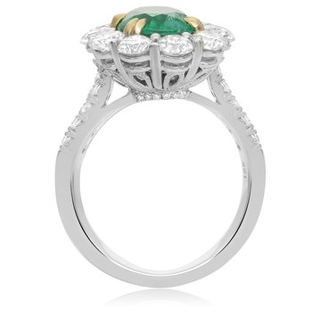 Pave Shank Diamond & Emerald Ring
