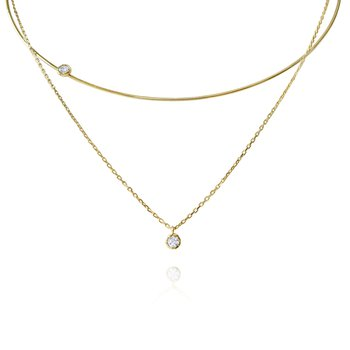 14K Gold and Diamond Wire Choker Pendant