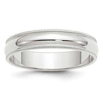 14k White Gold 5mm Milgrain Band