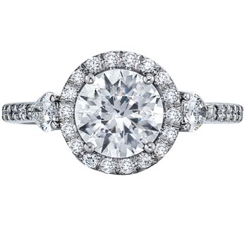 Pave Halo Diamond Engagement Ring with Two Pear Shaped Diamonds