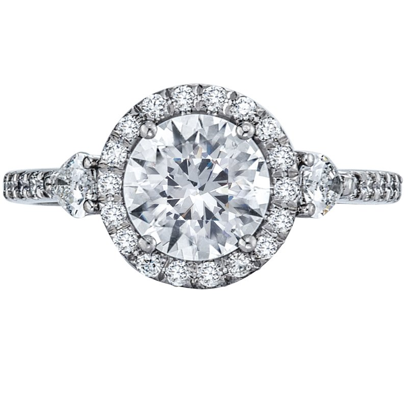 Mark Patterson Pave Halo Diamond Engagement Ring with Two Pear Shaped Diamonds