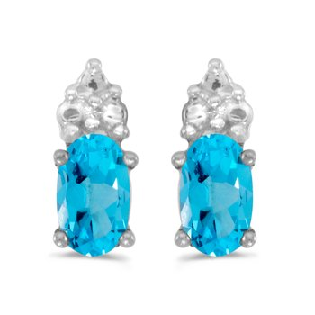 10k White Gold Oval Blue Topaz Earrings
