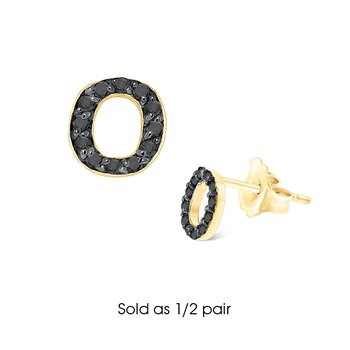 "Black Diamond Single Initial ""O"" Stud Earring (1/2 pair)"