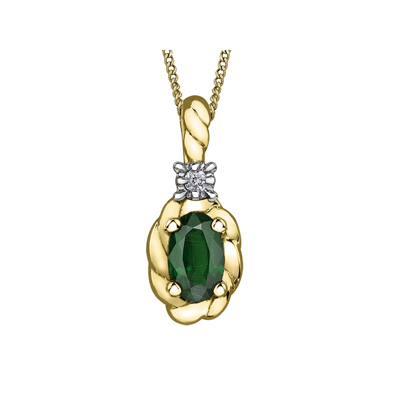 Diamond Days Emerald Pendant