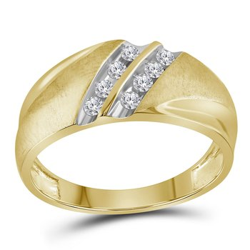 10kt Two-tone Yellow Gold Mens Round Diamond Band 2-Row Wedding Ring 1/4 Cttw