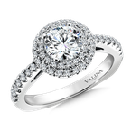 Valina Bridals Round double halo mounting  .41 ct. tw., 1 ct. round center.