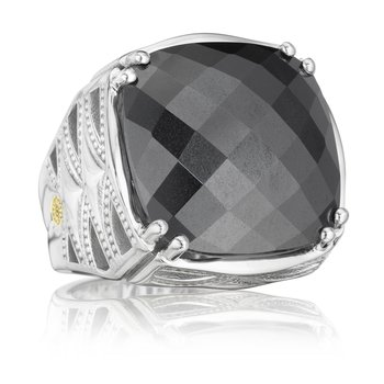 Bold Woven Crescent Ring featuring Hematite