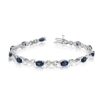 10K White Gold Oval Sapphire and Diamond Bracelet