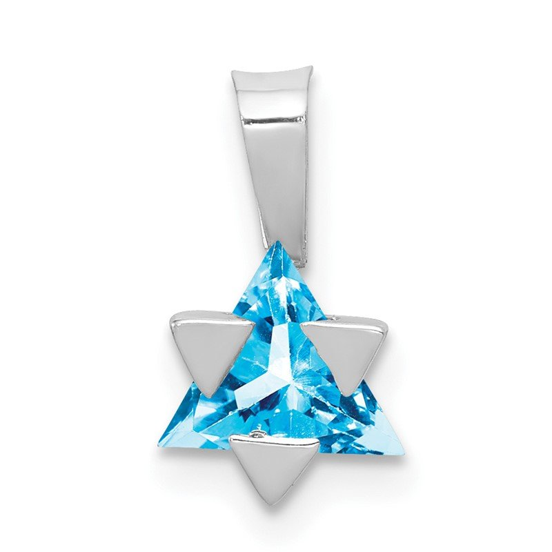 Quality Gold 14k White Gold Blue Topaz Star of David Pendant