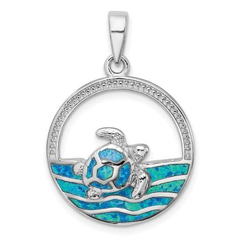 Sterling Silver Rhodium-plated Blue Inlay Created Opal Turtle Pendant