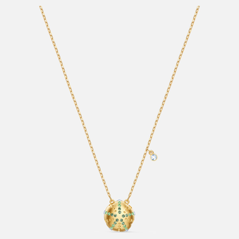 Shine Urchin Pendant, Green, Gold-tone plated