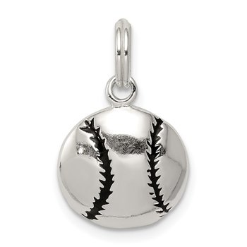 Sterling Silver Polished Enamel Baseball Pendant
