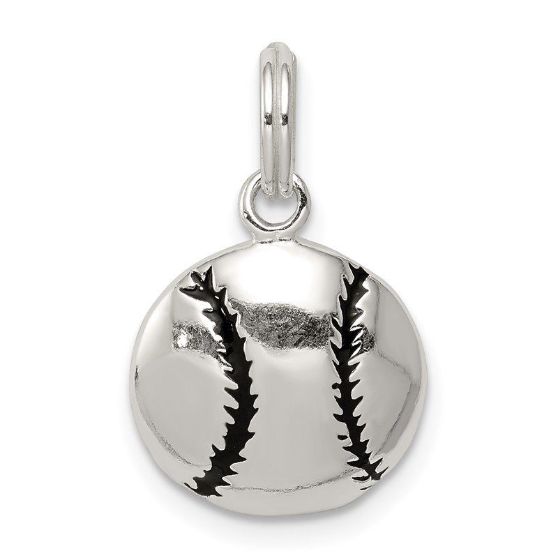 Quality Gold Sterling Silver Polished Enamel Baseball Pendant