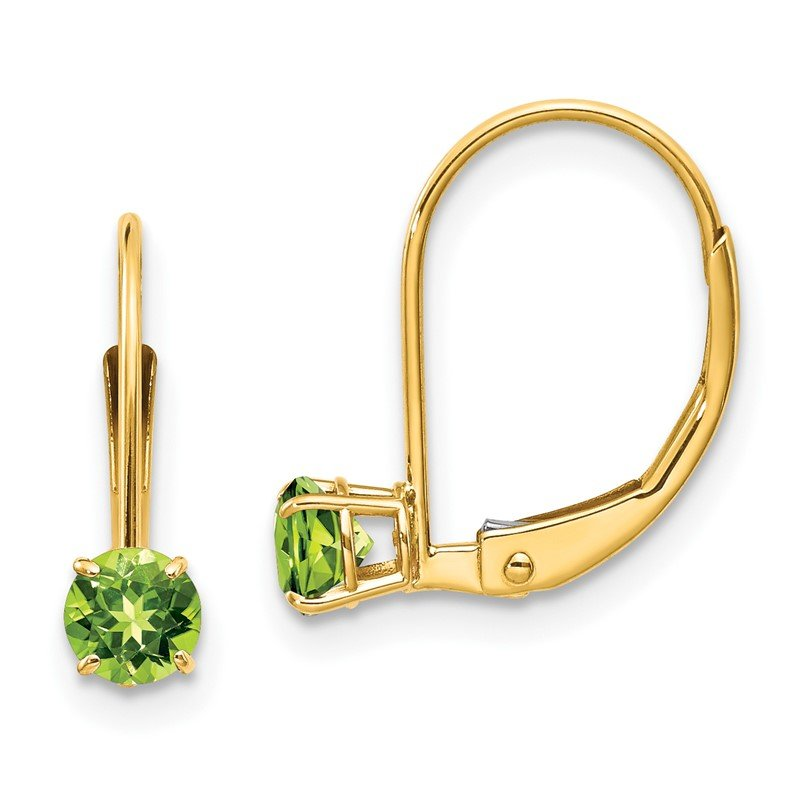 Quality Gold 14k 4mm Round August/Peridot Leverback Earrings
