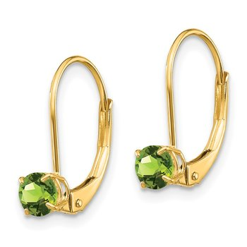 14k 4mm Round August/Peridot Leverback Earrings