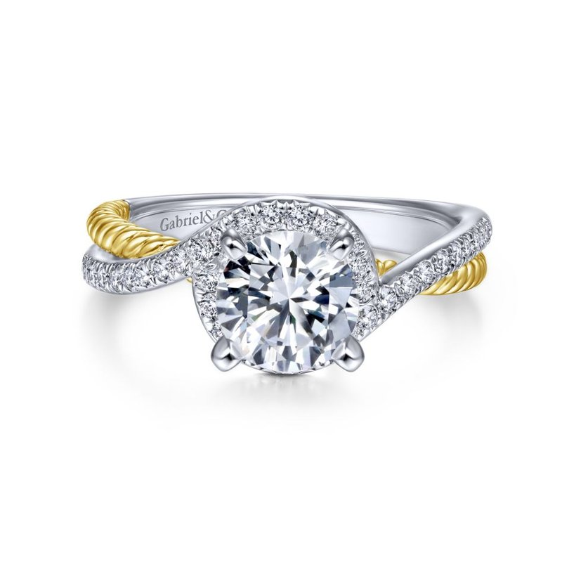 Gabriel Bridal Bestsellers 14K White-Yellow Gold Round Halo Diamond Engagement Ring