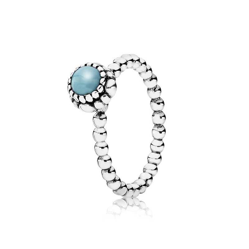 PANDORA Birthday Blooms Ring, December, Turquoise