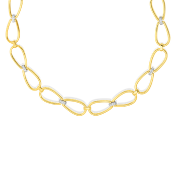 "18KT GOLD STIRRUP 18"" NECKLACE WITH DIAMOND ACCENT"