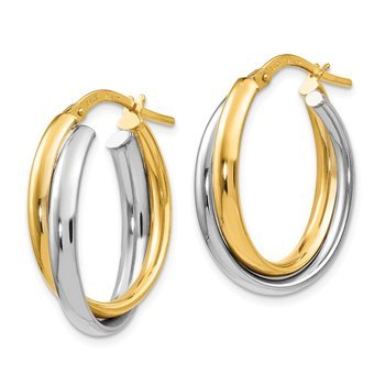 Leslie's 14K Two-tone Polished Twisted Hinged Hoop Earrings