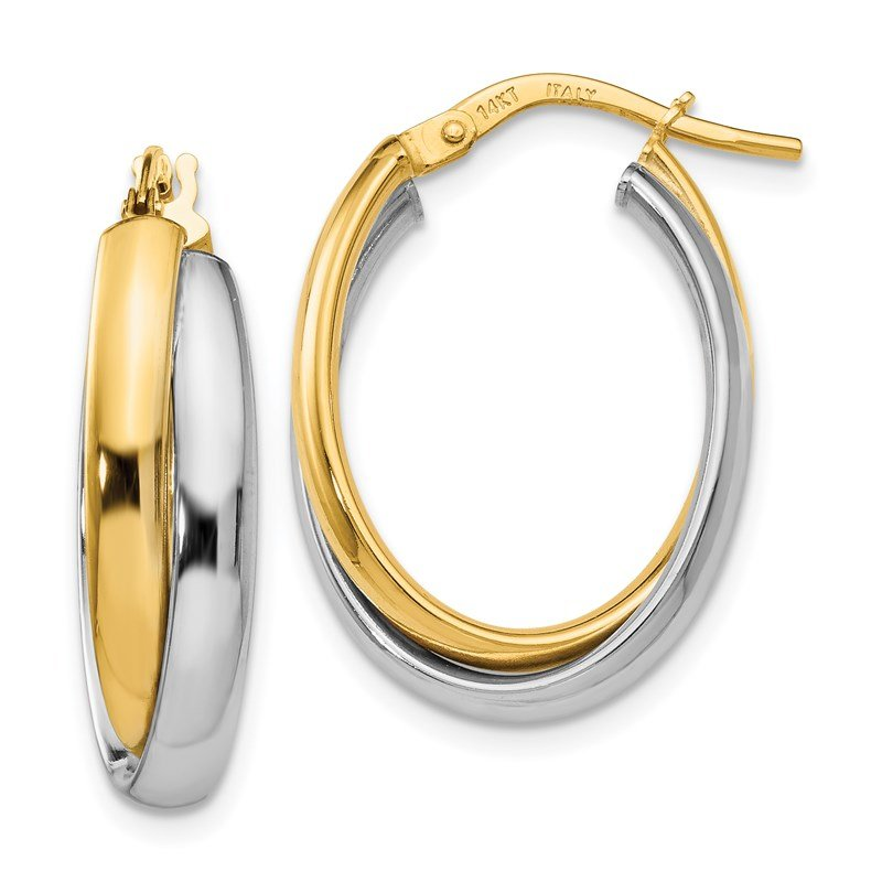 Leslie's Leslie's 14K Two-tone Polished Twisted Hinged Hoop Earrings