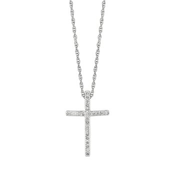 Silver .12ct Diamond Cross Necklace