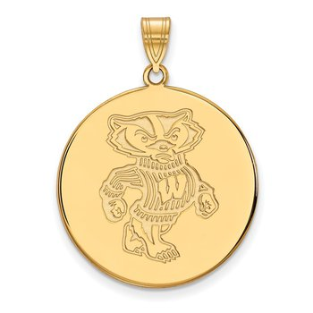 Gold-Plated Sterling Silver University of Wisconsin NCAA Pendant
