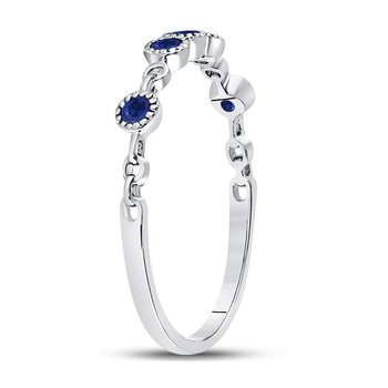 10kt White Gold Womens Round Blue Sapphire Dot Stackable Band Ring 1/5 Cttw